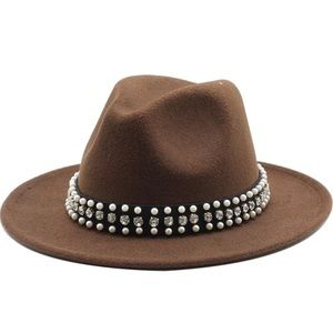 NEW Brown Fedora Hat Wide Band Rhinestones